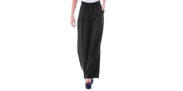 Dámské černé kalhoty s širokými nohavicemi Berry Couture