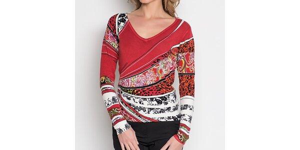 Dámský červený top s barevným vzorem Imagini