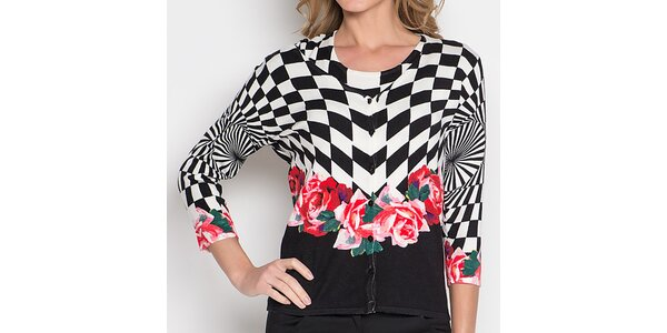 Dámský černobílý komplet s růžemi - svetřík a tričko Imagini