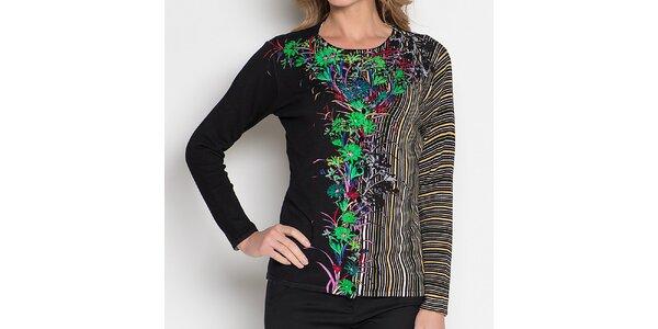 Dámský černý vzorovaný komplet - svetřík a tričko Imagini