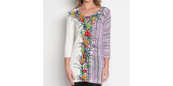 Dámská bílá tunika s barevnými proužky a květinovým vzorem Imagini