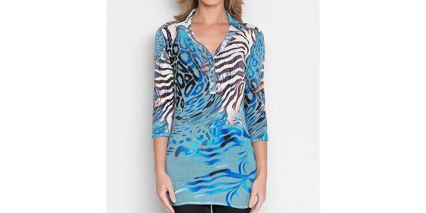 Dámská modrá tunika se zvířecími vzory Imagini