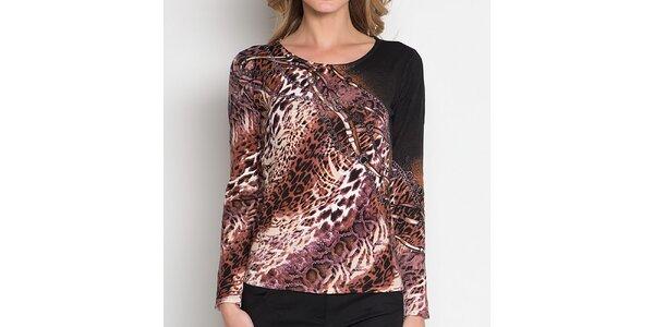 Dámské hnědé tričko se zvířecím vzorem Imagini