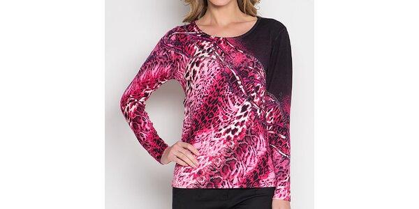 Dámské fuchsiové tričko se zvířecím vzorem Imagini