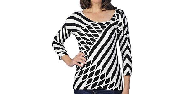 Dámské tričko s černo-bílým geometrickým vzorem Imagini