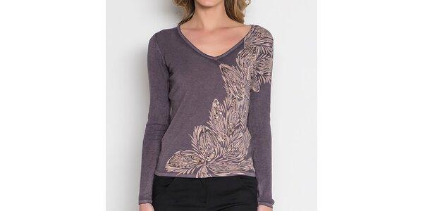 Dámské šedé tričko se světlým květinovým vzorem Imagini