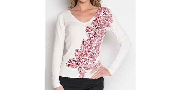 Dámské bílé tričko s červeným květinovým vzorem Imagini