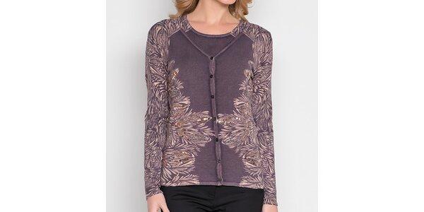 Dámský šedý komplet s potiskem a flitry - svetřík a tričko Imagini