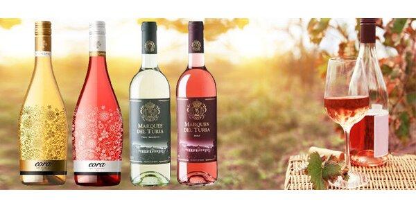 Sada elegantních šumivých vín nebo svěžích tichých vín