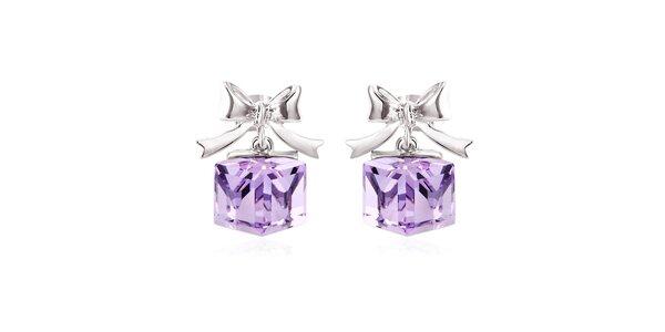 Dámské náušnice s mašličkami a fialovými krystaly Mileyna Accesories