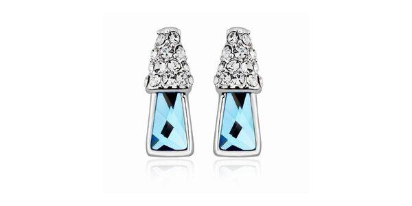 Dámské náušnice s bílými a modrými krystaly Mileyna Accesories