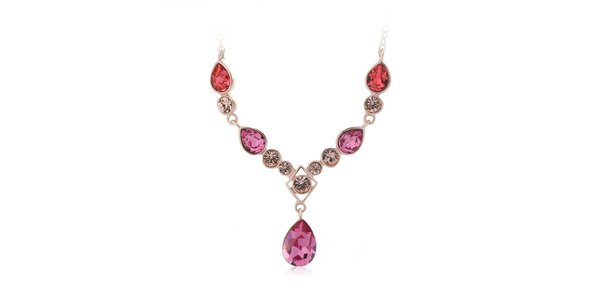 Dámský pozlacený náhrdelník s barevnými krystaly Mileyna Accesories