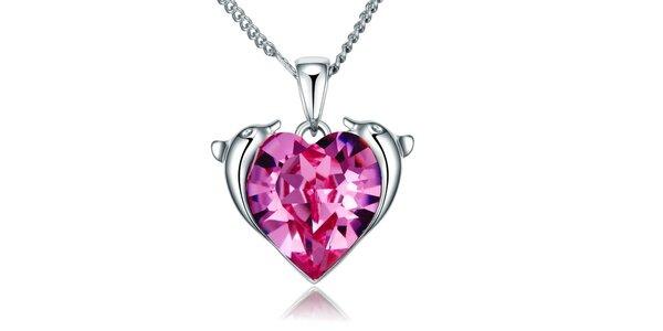 Dámský náhrdelník s delfíny a růžovým srdcem Mileyna Accesories
