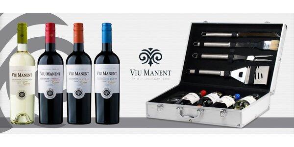 Grilovací kufr s příslušenstvím a 4 lahvemi vína