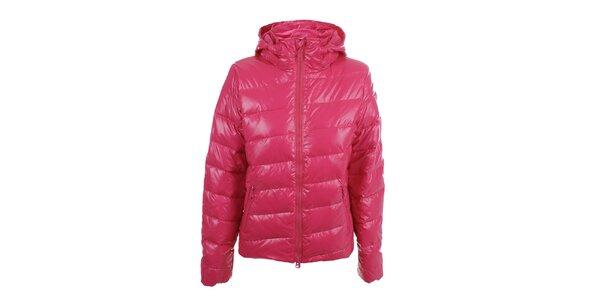 Dámská růžová lesklá bunda s kapucí Authority