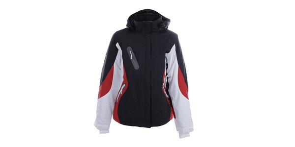 Dámská zimní černo-bílá bunda s červenými prvky Authority