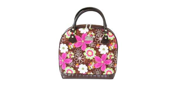 Dámská hnědá kabelka s barevnými květy Dara Bags