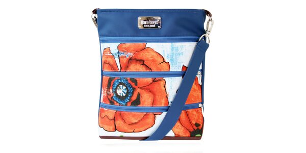 Dámská kabelka s červeným květem a zipy Dara Bags