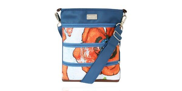 Dámská zipová kabelka s červenými květy Dara Bags