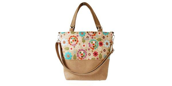 Dámská světle hnědá kabelka s barevným květinovým vzorem Dara Bags
