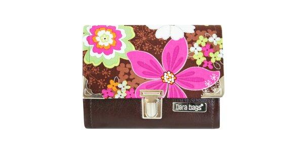 Dámská hnědá peněženka s barevnými květinami Dara Bags