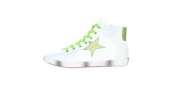 Dámské bílé tenisky se zelenou hvězdou Ana Lublin