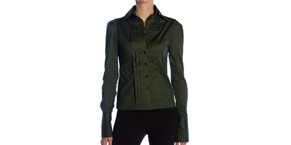 Dámská tmavě zelená košile s plisováním Lora Gene