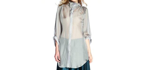 46a13e2040f Dámská šedá hedvábná košile v prodloužené délce Lora Gene