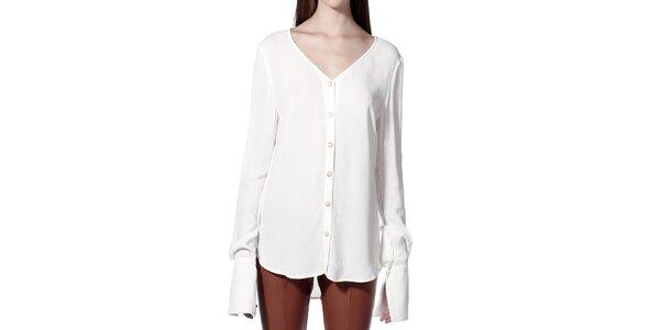 Dámská bílá košile bez límečku Lora Gene