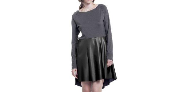 Dámské šedé šaty s černou sukní z eko kůže Lora Gene