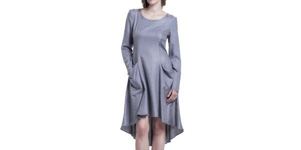 Dámské šedé šaty s dlouhým rukávem Lora Gene