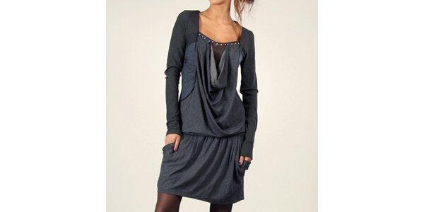 Dámské antracitové šaty s kapsami Angels Never Die