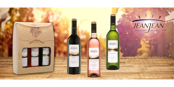 3 vína Maison du Sud v dřevěném dárkovém boxu
