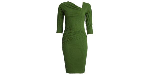 Dámské zelené šaty s asymetrickým výstřihem CeMe London