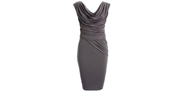 Dámské šedé šaty s vodovým výstřihem CeMe London