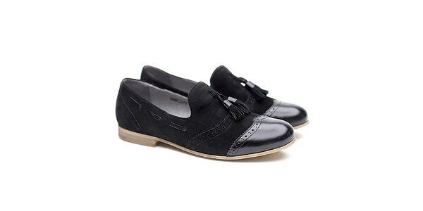 Dámské černé polobotky s třásněmi Shoe the Bear