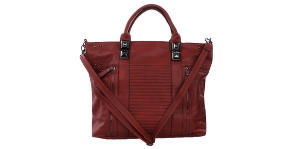 Dámská červená kabelka s ozdobnými zipy a cvočky Bessie
