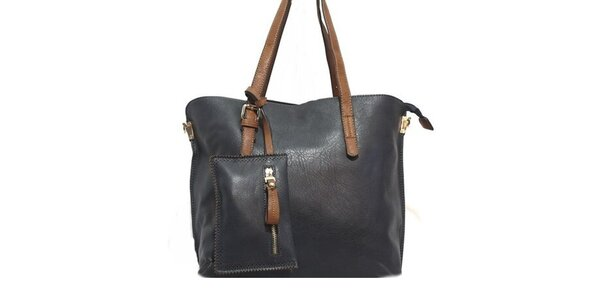 Dámská tmavě modrá kabelka s hnědými poutky Bessie