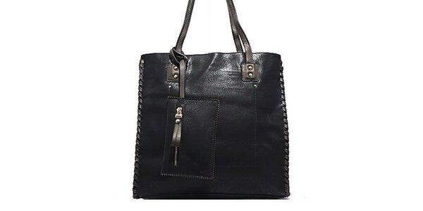 Dámská černá kabelka s ozdobným prošíváním Bessie