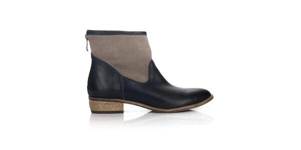Dámské hnědo-černé kotníkové boty Joana and Paola