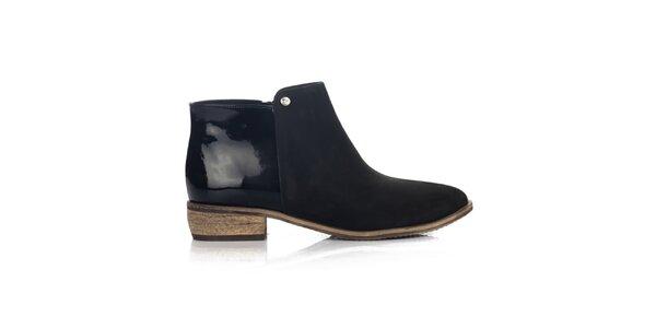 Dámské černé kotníkové boty s lesklou patou Joana and Paola