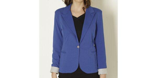 Dámské modré sako se světlými manžetami Keren Taylor