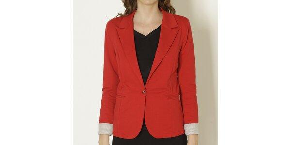 Dámské červené sako se světlými manžetami Keren Taylor