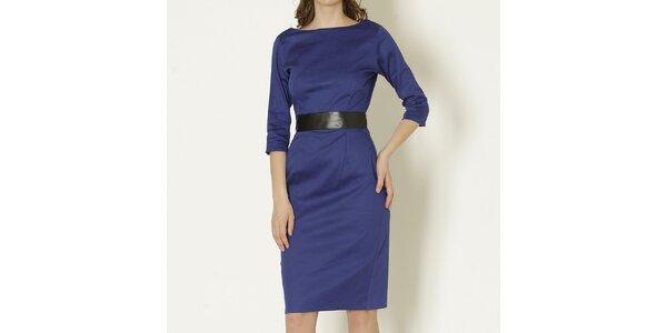 Dámské modré šaty s černým páskem Keren Taylor a8f8458632
