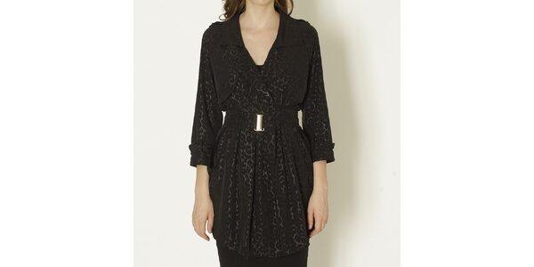 Dámský černý kabát s leopardím vzorem a páskem Keren Taylor