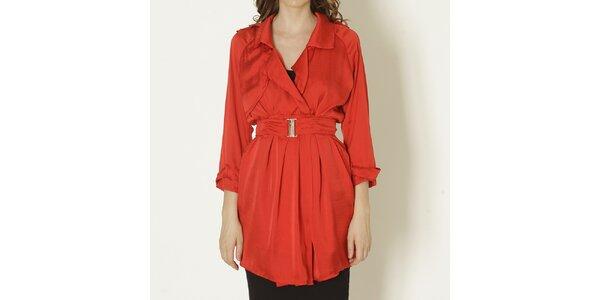 Dámský červený kabát s páskem Keren Taylor