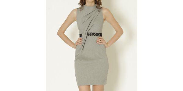 Dámské šedé šaty s ozdobným pasem Keren Taylor