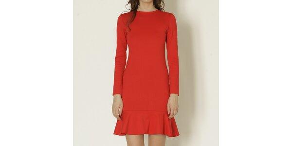 Dámské červené šaty s dlouhým rukávem Keren Taylor