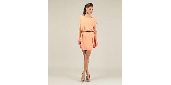 Dámské oranžové krátké šaty s páskem Lili Lovely