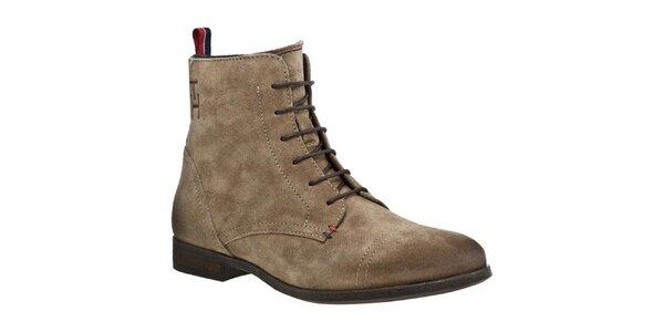 Dámské semišové boty se zipem a tkaničkami Tommy Hilfiger